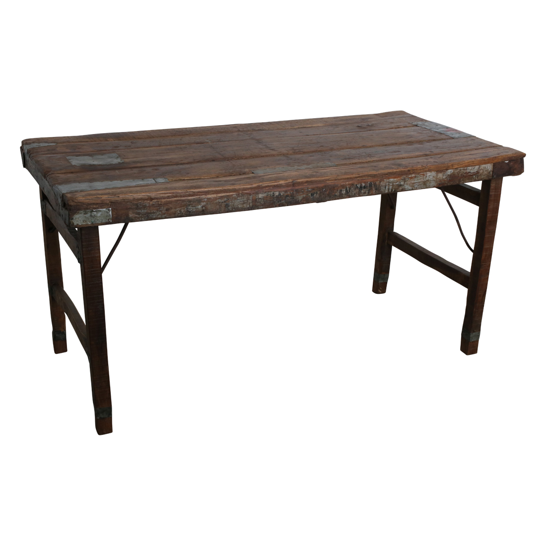 Vintage Tisch Aus Holz Klappbar Shabby-Chic Brown Rough