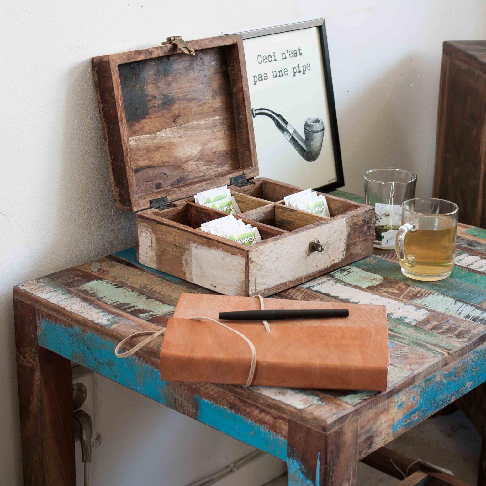 Teebox Aus Holz Im Vintage Shabby Chic Online Kaufen Stuff Shop