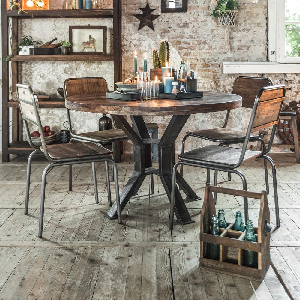 handmade vintage tisch aus recyceltem altholz rund industrial stuff. Black Bedroom Furniture Sets. Home Design Ideas